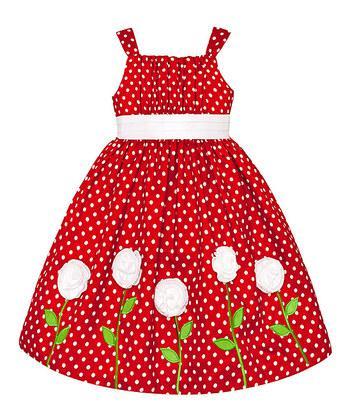 Ошатне червоне плаття в горошок з білими трояндами (Розмір 4Т) American Princess (США) з нижніми спідницями!