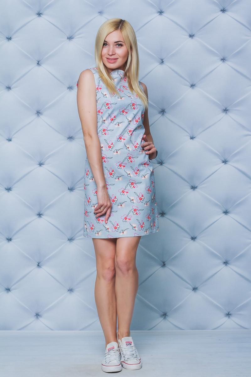 Платье женское принт лен
