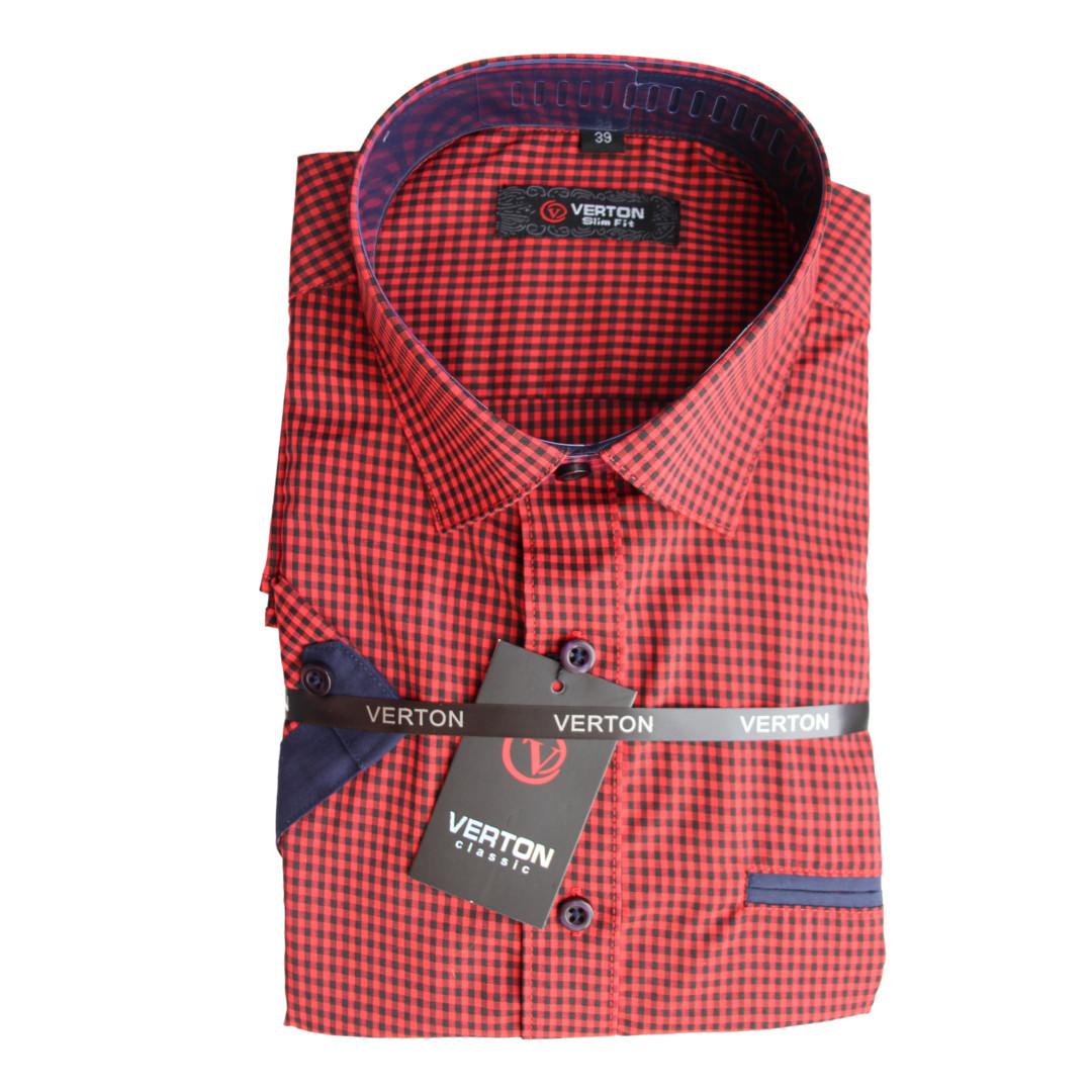 Рубашка для мальчика Verton подростковая  короткий рукав приталенная красная