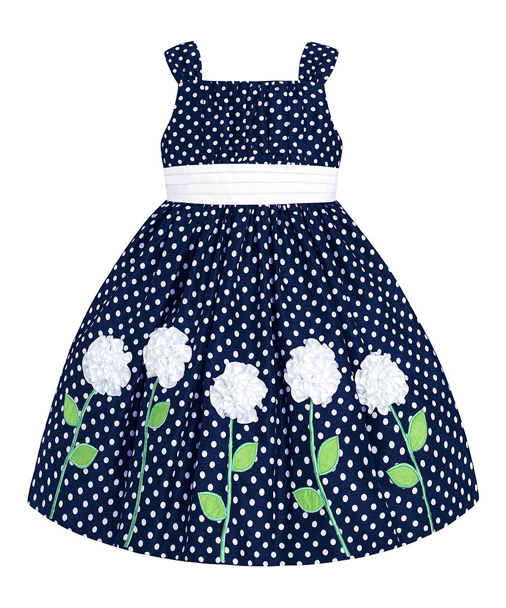 Шикарное синее платье в горошек с белыми цветами (Размер 4Т)  American Princess (США) с нижними юбками!