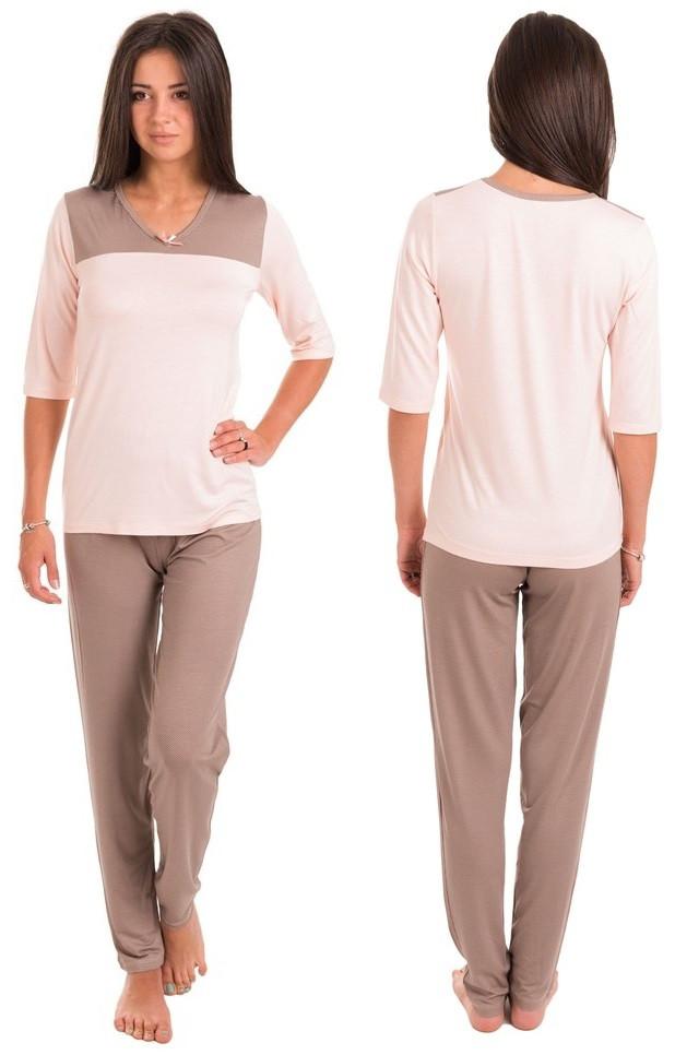 Домашний комплект женский длинная футболка и брюки пижама вискоза домашняя одежда Украина