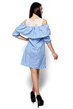 Модное платье короткое прямое с воланом рукав три четверти голубое, фото 3