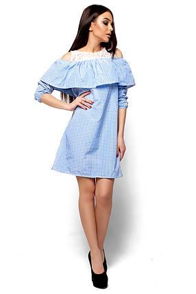 Модное платье короткое прямое с воланом рукав три четверти голубое, фото 2