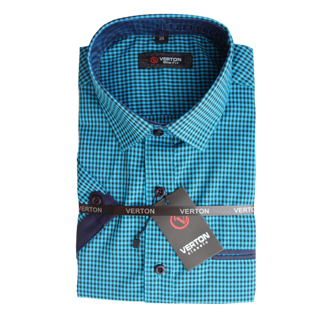 Рубашка в клетку с коротким рукавом для мальчика 158 рост приталенная синяя