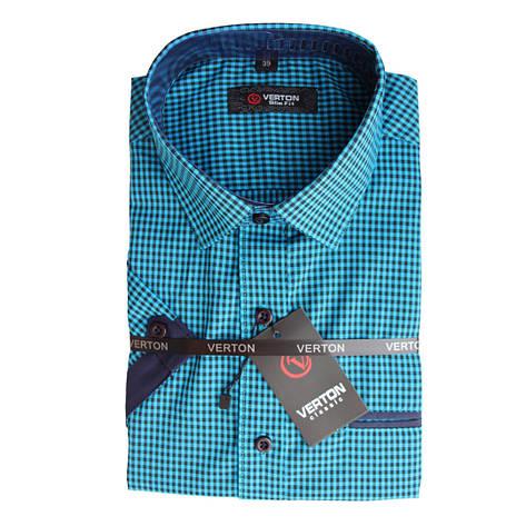 Рубашка в клетку с коротким рукавом для мальчика 158 рост приталенная синяя, фото 2