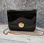 Маленькая женская лаковая сумочка, на цепочке, фото 2