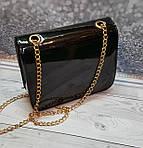 Маленькая женская лаковая сумочка, на цепочке, фото 4