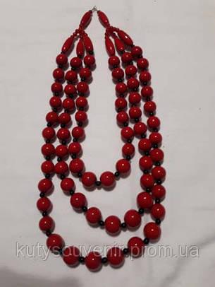 Ожерелье тройное красного цвета, фото 2