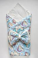"""Летний конверт-одеяло на выписку """"Единороги"""" голубой"""