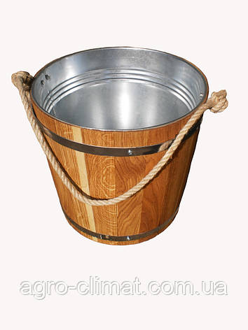 Ведро из дуба для бани 7 л. с металл. вставкой, фото 2