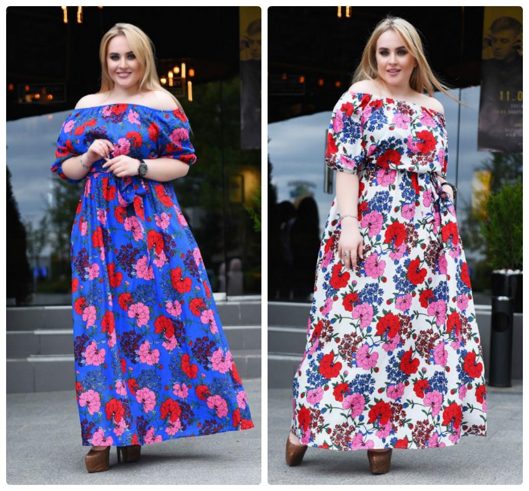 44bdedd427a5 Легкое платье в пол с цветами больших размеров. Цвета! - Интернет-магазин