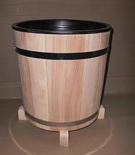 Кадка для цветов дубовая 17 л. с пластмасовой вставкой