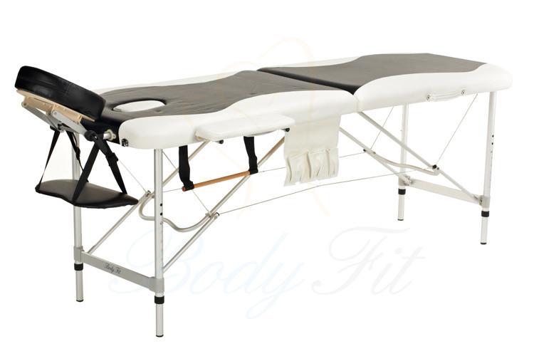 Массажный стол BodyFit, 3 сегментный,2-цветный,алюминьевый Черный