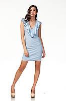 Платье с глубоким декольте. Модель П108_голубые сердечки