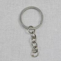 Основа для брелка плоское кольцо с цепочкой