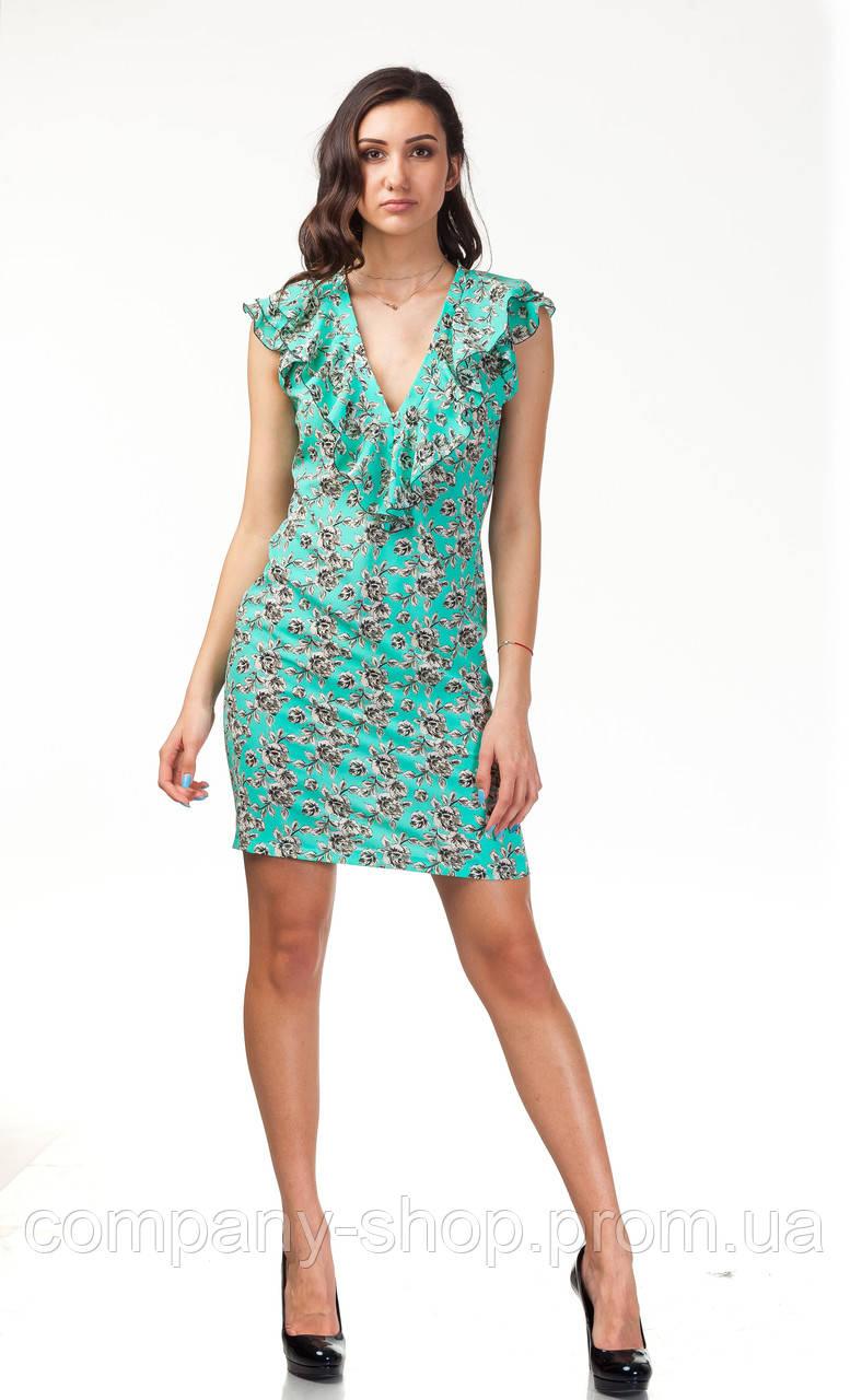 Платье с глубоким декольте. Модель П108_бирюзовый цвеочек