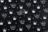 """Ткань хлопковая """"Нарисованные короны"""" белые на чёрном (№1315а), фото 7"""