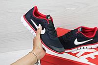 Женские кроссовки Nike Free Run 3.0 синие с красным (Реплика ААА+), фото 1