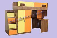 Кровать-чердак с рабочей зоной  Оскар, ясень шимо + оранж и желтый, фото 1
