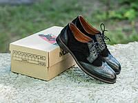 Мужские кожаные туфли броги со вставками из замша