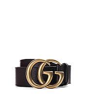 Ремень кожаный Gucci  черный с золотой пряжкой