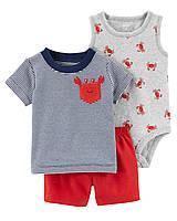 Летний костюм - шорты,футболка и боди-маечка Carter's для мальчика
