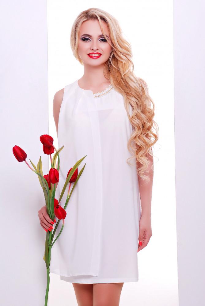 Женское нарядное воздушное платье Тина / размер 42-50 / цвет молоко