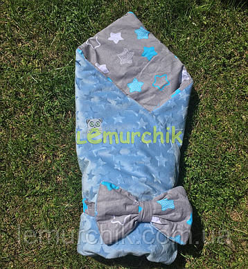"Конверт-одеяло плюш на съемном синтепоне ""Звездочка голубой"""