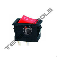 Перемикач 1-клавішний чорний КП-3-220В вузький, 2 контакту, ON-OFF з фіксацією