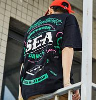 Черная Широкая гетто футболка с принтом Swag Хип-Хоп