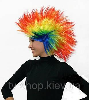 Парик  разноцветный с  ирокезом