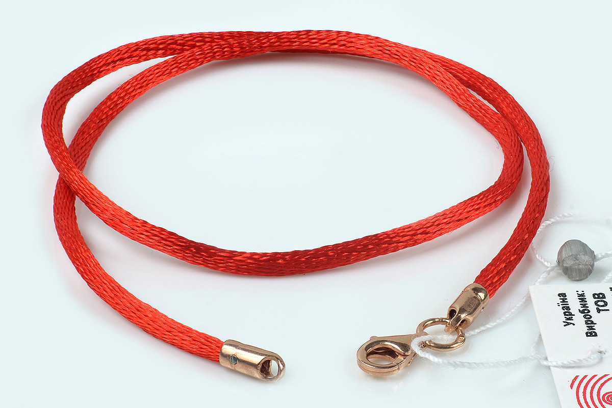 Красный шелковый шнурок на шею с позолотой