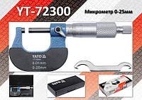 Микрометр Ra-0...25мм, деление-0.01мм, L-130мм., YATO YT-72300
