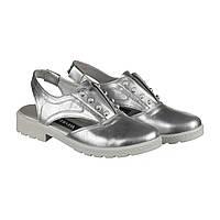 Серебряные кожаные босоножки с закрытыми пальцами оптом