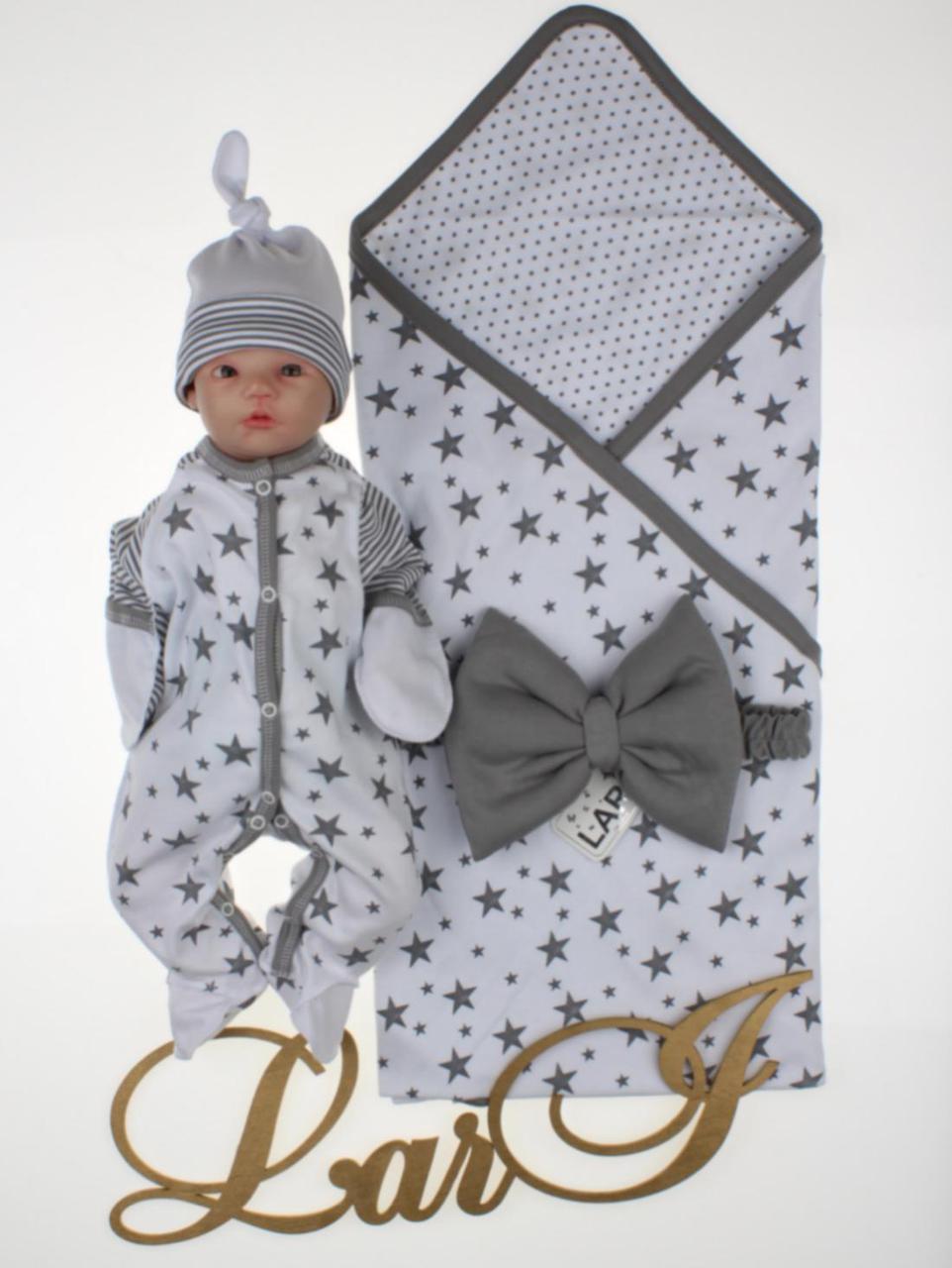 """Летний набор для новорожденных """"Звездопад"""", белый"""