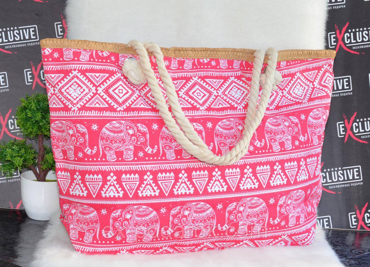 Большая розовая пляжная сумка со слониками - Интернет-магазин