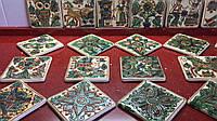Декоративна плитка глиняна ручноїроботи Косівський розпис 11*11 см, фото 1