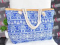 Большая голубая пляжная сумочка., фото 1