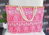 Большая розовая пляжная сумочка со слониками., фото 1