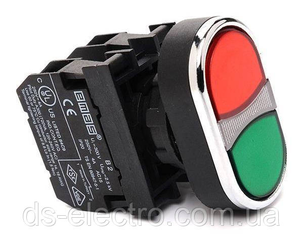 Кнопка здвоєна червоно-зелена (1НО+1НЗ) - метал IP65 CM102K20KY
