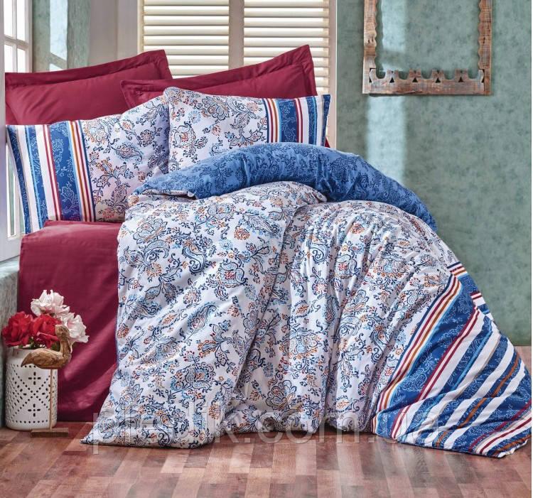 Купить Двуспальное постельное белье 200х220 Cotton box Ранфорс Lorisa Mavi