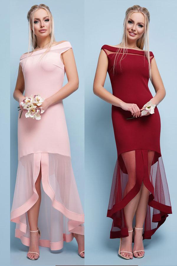 Летнее вечернее платье со шлейфом цвета красный темно-синий бордовый персиковый размер 42 по 46