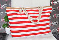 Пляжна смугаста сумочка з канатними ручками, фото 1