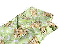 Постельный набор в детскую кроватку (3 предмета) Мишки спят салатовый