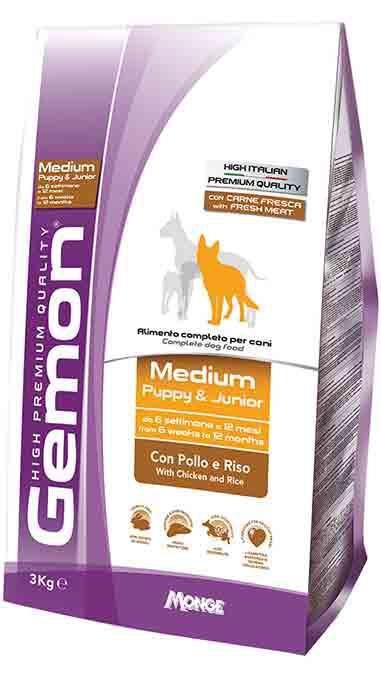 Gemon Medium Puppy & Junior корм для щенков средних пород с курицей, 3 кг