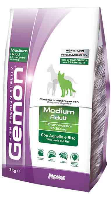 Gemon Medium Adult with Lamb and Rice корм для собак средних пород с ягненком, 15 кг