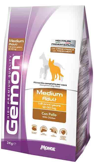 Gemon Medium Adult with Chicken корм для собак средних пород с курицей, 15 кг