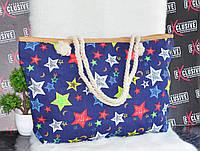 Синяя пляжная сумочка с канатными ручками Звезды, фото 1