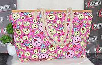 Летняя пляжная сумочка с канатными ручками Смайлы., фото 1