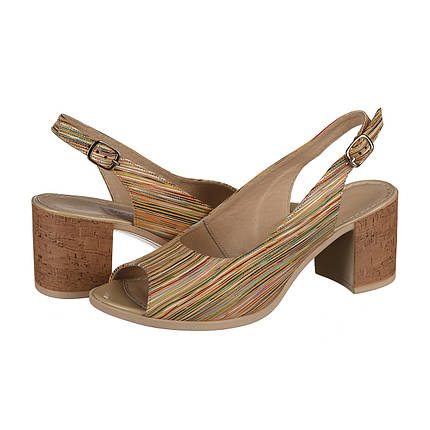 Кожаные босоножки с каблуком под пробку оптом, фото 2